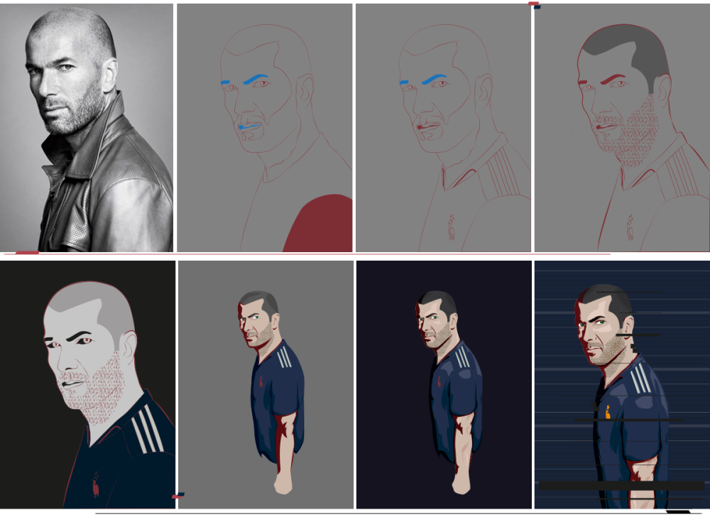 Illustration Process. Till the last step it was all created in illustrator. The rest of the work was done in Photoshop